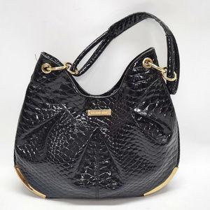 Gianni Bini Faux Black Patent Pebbled Leather Hobo
